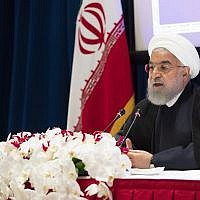Iranian President Hassan Rouhani speaks during a news conference, in New York, September 26, 2019. (Mary Altaffer/AP)