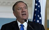 Secretary of State Mike Pompeo accompanied by Colombian Foreign Minister Carlos Holmes Trujillo, speaks to reporters after a bilateral meeting at the Department of State in Washington, Wednesday, Oct. 9, 2019. (AP Photo/Jose Luis Magana)