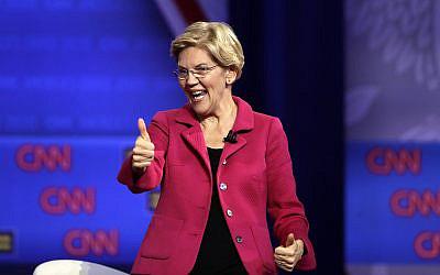 Democratic presidential candidate Sen. Elizabeth Warren, D-Mass., speaks during the Power of our Pride Town Hall Thursday, Oct. 10, 2019, in Los Angeles. (AP/Marcio Jose Sanchez)