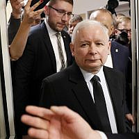 The ruling party leader Jaroslaw Kaczynski leaves polling station after his vote in Warsaw, Poland, Sunday, Oct. 13, 2019 (AP Photo/Darko Bandic)