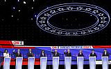 Candidates participate in a Democratic presidential primary debate hosted by CNN/New York Times at Otterbein University, October 15, 2019, in Westerville, Ohio. (John Minchillo/AP)