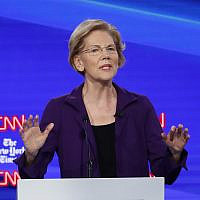 Democratic presidential candidate Sen. Elizabeth Warren, Democrat-Massachusetts, speaks during a Democratic presidential primary debate hosted by CNN and The New York Times at Otterbein University, October 15, 2019, in Westerville, Ohio. (John Minchillo/AP)