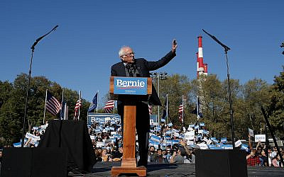 Sen. Bernie Sanders speaks to supporters during a campaign rally on Oct. 19, 2019 in New York. (AP Photo/Eduardo Munoz Alvarez)