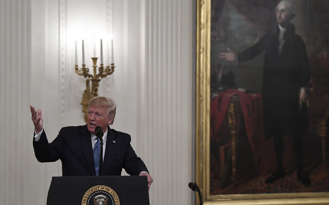 US President Donald Trump speaks during a Medal of Honor Ceremony in the East Room of the White House in Washington,  Oct. 30, 2019. (AP Photo/Susan Walsh)