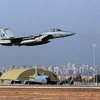 A US Air Force F15 fighter jet takes off at Incirlik Air Base near Adana, Turkey, Tuesday, Dec. 15, 2015. (AP Photo)
