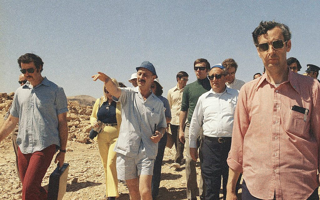 Former Secretary of State Henry Kissinger at Masada, March 1975 with archeologist and former Israeli Chief of Staff Yigael Yadin. (AP Photo/Castro)