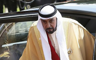 In this 2013 file photo, President of the United Arab Emirates Sheik Khalifa bin Zayed Al Nahyan arrives to meet Britain's Queen Elizabeth II in Windsor in England (AP Photo/Kirsty Wigglesworth, pool)