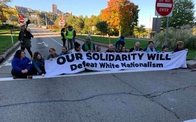 Bend the Arc activists protest President Trump's visit to Pittsburgh, Oct. 23, 2019. (Bend the Arc/Facebook via JTA)