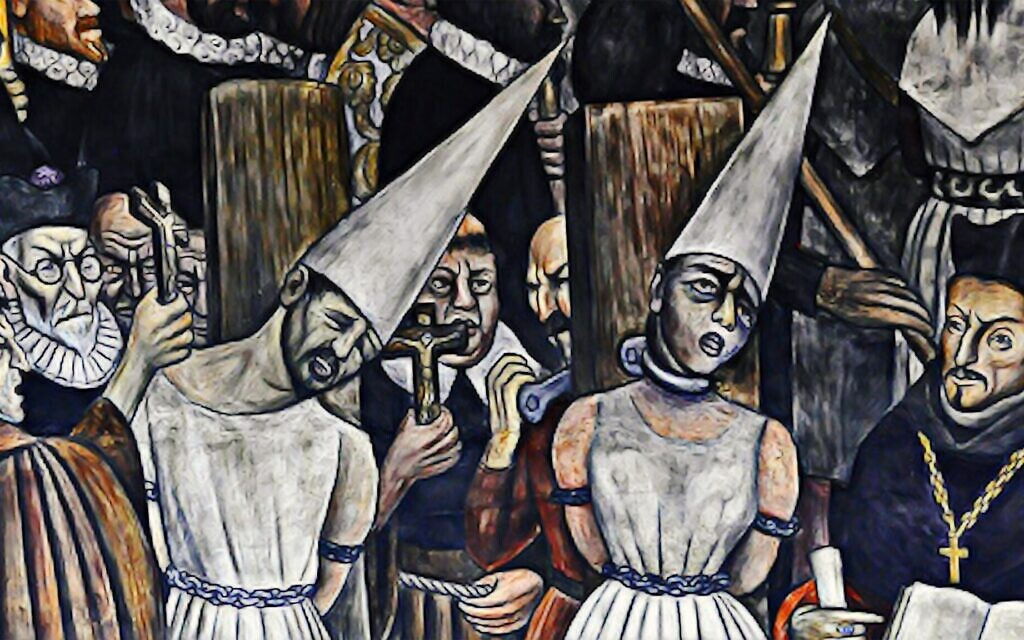 A painting depicting the Mexican Inquisition, shown in this still from 'Children of the Inquisition.' (Lovett Productions)