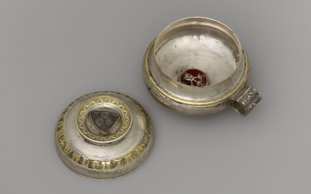Double cup, possibly Prague, second quarter 14th century. Silver, gilded silver, and opaque enamel. (The Metropolitan Museum of Art, New York, The Cloisters Collection)