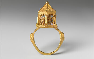 Made in the Italian Peninsula?, ca. 1300–before 1349. Gold, enamel. This wedding ring is the most technically accomplished example of goldsmith's work in the Colmar Treasure. Its miniature dome and supporting arches mimic the imagined form of the lost Temple in Jerusalem, metaphorically connecting that site to the newlyweds' home. (Musée de Cluny – Musée National du Moyen Âge, Paris/The Colmar Treasure/Met Cloisters, New York)