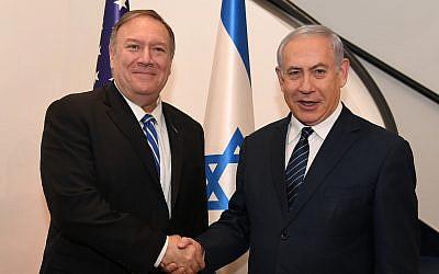 US Secretary of State Mike Pompeo meets with Prime Minister Benjamin Netanyahu in Jerusalem on October 18, 2019. (David Azagury/ US Embassy Jerusalem)
