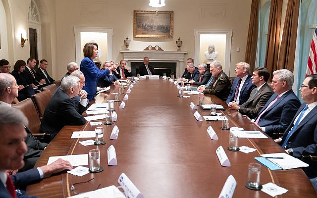 An image tweeted on October 16, 2019 by US President Donald Trump showing a confrontation with Speaker of the House Nancy Pelosi. (Twitter)