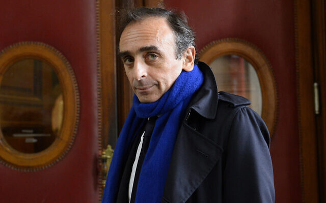 French journalist and writer Eric Zemmour arrives at the Criminal Court in Paris on November 6, 2015, where he was prosecuted for incitement to racial hatred, November 6, 2015. (Bertrand Guay/AFP/Getty Images via JTA)