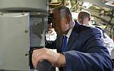 Prime Minister Benjamin Netanyahu seen at a welcoming ceremony for a new submarine, Rahav, at the Israeli Navy base in Haifa, on January 12, 2016. (Kobi Gideon/GPO)