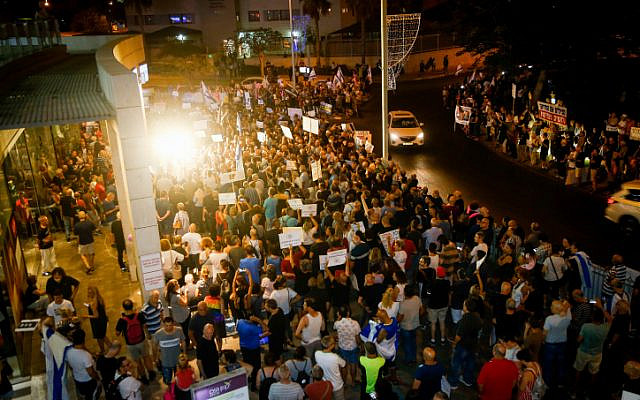 Illustrative: Protests near the home of Attorney General Avichai Mandelblit in Petah Tikva on August 17, 2019 (Roy Alima/Flash90)