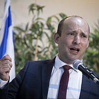 New Right party leader Naftali Bennett speaks during a press conference at the Expo Tel Aviv on September 5, 2019. (Hadas Parush/Flash90)