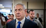 Prime Minister Benjamin Netanyahu gives a press statement in the Israeli parliament on September 15, 2019, a few days before the Israeli elections. (Yonatan Sindel/Flash90)