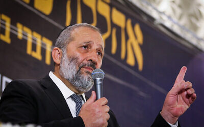 Shas party chairman Interior Minister Aryeh Deri addresses supporters at the Shas party event for the Jewish new year in Jerusalem on September 24, 2019. (Flash90)