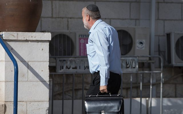 Attorney General Avichai Mandelblit arrives at the Justice Ministry in Jerusalem for the hearing on the corruption cases in which Prime Minister Benjamin Netanyahu is a suspect, on October 2, 2019. (Noam Revkin Fenton/Flash90).