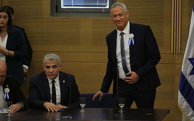 Blue and White party leaders Benny Gantz and Yair Lapid at a faction meeting at the opening of the 22nd Knesset, on October 03, 2019. (Hadas Parush/Flash90)