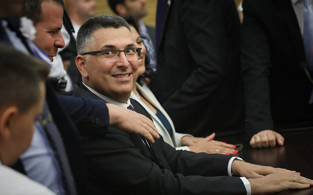 Likud MK Gideon Sa'ar attends a Likud faction meeting at the opening of the 22nd Knesset in Jerusalem, on October 3, 2019. (Hadas Parush/Flash90)