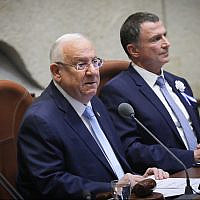 President Reuven Rivlin speaks at the swearing-in of the 22nd Knesset on October 3, 2019. (Hadas Parush/Flash90)