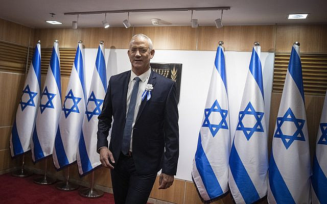 Blue and White party chairman Benny Gantz at the swearing-in ceremony of the 22nd Knesset,, October 3, 2019. (Hadas Parush/Flash90)