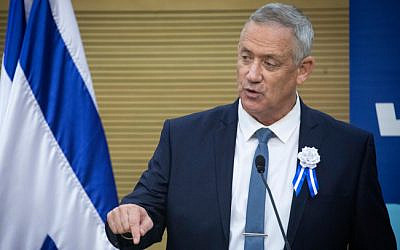 Blue and White chief Benny Gantz speaks at a faction meeting during the opening session of the 22nd Knesset, October 3, 2019. (Hadas Parush/Flash90)