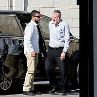 Attorney General Avichai Mandelblit arrives at the Justice Ministry in Jerusalem for the fourth day of pre-indictment hearings on October 7, 2019. (Flash90)
