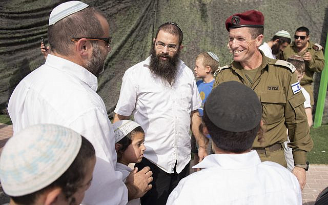 Maj. Gen. Nadav Padan, Head of the IDF Central Command, at a protest by Yitzhar residents in support of IDF soldiers at the entrance to the Samaria Brigade, October 20, 2019, following the assault on IDF soldiers in the settlement of Yitzhar during the night. (Sraya Diamant/Flash90)