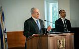 Prime Minister Benjamin Netanyahu at the funeral service for former president of the Supreme Court Meir Shamgar at the Supreme Court in Jerusalem on October 22, 2019. (Hadas Parush/Flash90)