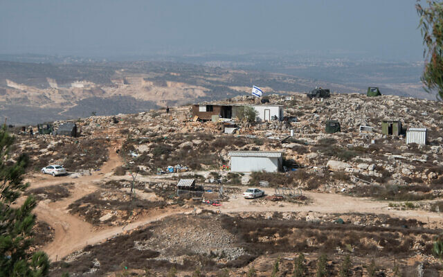 An outpost near the Yitzhar settlement on October 24, 2019. (Sraya Diamant/Flash90)