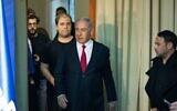 (R-L) Ofer Golan, Likud campaign manager, Prime Minister Benjamin Netanyahu, digital adviser Topaz Luk and Likud spokesman Jonatan Urich at the Prime Minister's Residence in Jerusalem on March 20, 2019. (Yonatan Sindel/Flash90)