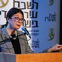 Supreme Court Chief Justice Esther Hayut speaks at an event in Nazareth, October 30, 2019. (Meir Vaknin/Flash90)