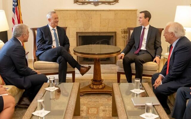 From left to right: Blue and White Party MK Yair Lapid, party leader Benny Gantz, Special Adviser to the US President Jared Kushner, and US Ambassador to Israel David Friedman during a meeting at the US Embassy in Jerusalem, October 28, 2019. (Jeries Mansour, US Embassy Jerusalem)