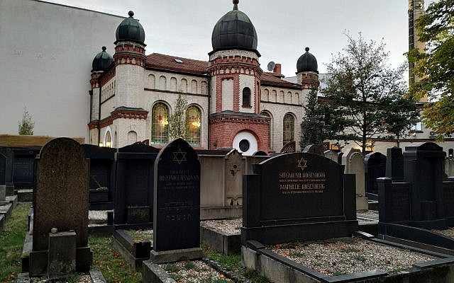 Halle, Germany's synagogue, October 11, 2019. (Yaakov Schwartz/ Times of Israel)
