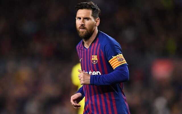 Lionel Messi of FC Barcelona looks on during the La Liga match between FC Barcelona and Villarreal CF at Camp Nou on December 02, 2018 in Barcelona, Spain. (David Ramos/Getty Images via JTA)