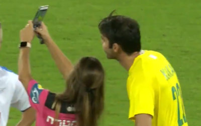 Israeli referee Lilach Asulin takes a selfie with retired Brazilian soccer star Kaka after giving him a yellow card during the Shalom Game in Haifa, October 29, 2019. (Screen capture: Twitter)