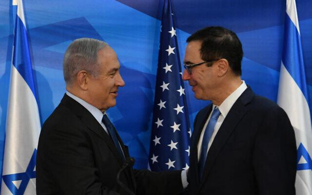 Prime Minister Benjamin Netanyahu meets with US Treasury Secretary Steven Mnuchin in Jerusalem, October 28, 2019 (Amos Ben-Gershom/GPO)