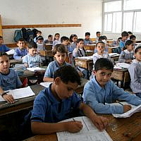 Palestinian schoolchildren studying at the UNRWA Gaza Elementary School in Gaza City. (IRIN/Creative Commons via JTA)