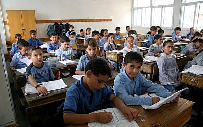 Palestinian schoolchildren studying at the UNRWA Gaza Elementary School in Gaza City. (IRIN/Creative Commons via JTA)