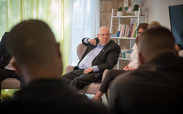 President Rivlin at day center for young people released from prison on  October 7, 2109 (Noam Revkin Fenton /courtesy)