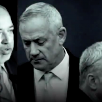 Images of Yisrael Beytenu party chief Avigdor Liberman (L), Blue and White leader Benny Gantz (C) and Blue and White No. 2 Yair Lapid from a video Prime Minister Benjamin Netanyahu posted to his social media accounts on October 20, 2019, alleging they are planning on forming a minority government with the backing of Arab parties. (Screen capture: Twitter)