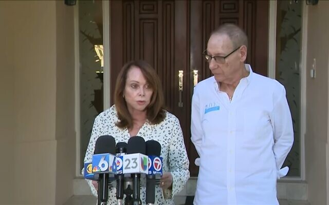Screen capture from video of Shirley Sotloff, left, with her husband Arthur, delivering a statement about the death of Abu Bakr al-Baghdadi, leader of the Islamic State group which executed their son, journalist Steven Sotloff. The statement was given October 27, 2019.