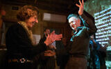 Stella Levi and David Roubini cut a rug at the exhibition, 'The Hearts Speak,' October 29, 2019. (Isaak Liptzin/ Awen Films)