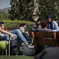 Illustrative: Students on the University of Haifa campus, April 11, 2016. (Hadas Parush/Flash90)