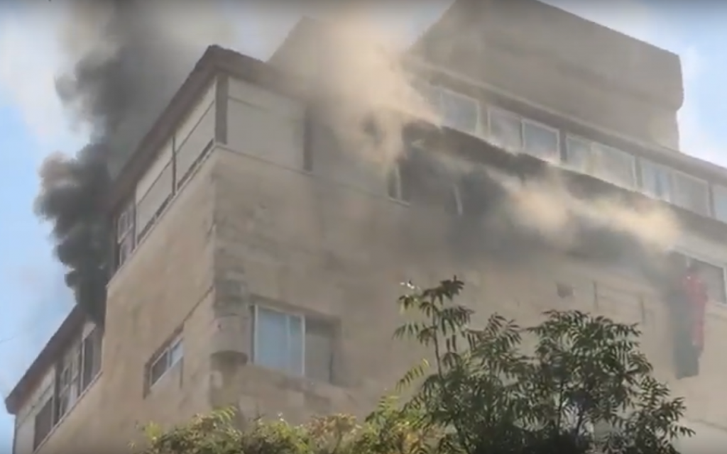 Man critically injured in apartment fire in central Jerusalem