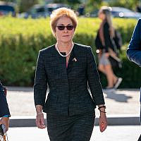 Former US ambassador to Ukraine Marie Yovanovitch, center, arrives on Capitol Hill, October 11, 2019, in Washington, as she is scheduled to testify before congressional lawmakers as part of the House impeachment inquiry into US President Donald Trump. (AP Photo/J. Scott Applewhite)