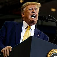 US President Donald Trump speaks during a campaign rally at the Lake Charles Civic Center, October 11, 2019, in Lake Charles, Louisiana. (AP Photo/Evan Vucci)